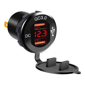 Image 5 - 12 فولت/24 فولت معدن مقاوم للماء المزدوج QC3.0 USB سريع شاحن سيارة مخرج طاقة الفولتميتر