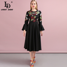 LD LINDA DELLA 2019 Autumn Women Dress Runway Fashion Designer Flare Sleeve Simple Embroidery Vintage Elegant A-Line New Dresses ld linda della 2019 autumn women new dress runway fashion designer long sleeve simple bow printed casual a line ladys dresses