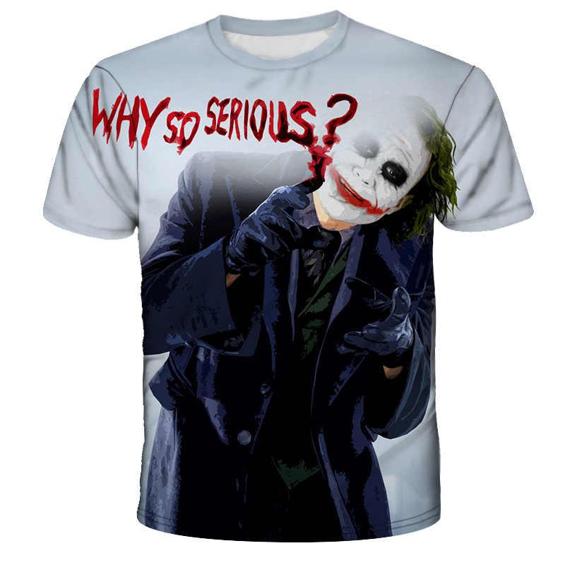 Мужская и wo Мужская футболка с 3d принтом Crazy Clown страшный ужас Джокер Новая модная мужская футболка с коротким рукавом 2019