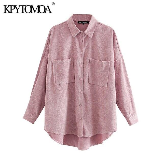 KPYTOMOA Women 2020 Fashion Pockets Oversized Corduroy Shirts Vintage Long Sleeve Asymmetric Loose Female Blouses Chic Tops 6