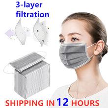 Máscara protetora adulta cinzenta descartável de 50 pces anti gotas de poeira anti 3 camadas filtro earloop não tecida cara boca máscara