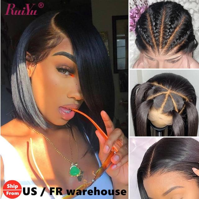 Bob Wig Bob Lace Front Human Hair Wigs 4x4 Closure Wig Straight  Short Bob Wigs Remy Brazilian Hair RUIYU Hair Swiss Lace
