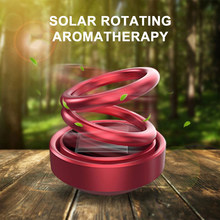 Auto Duft Lufterfrischer Solar Doppel Ring Rotierenden Suspension Ätherisches Öl Für Auto Innen Dekoration Solide Parfüm