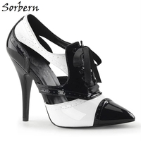 Sorbern Black And White Patent Leather 13cm Heels Lace Up Pointed Toe 2020 Ladies Shoes Custom Color Fashion Women Pumps