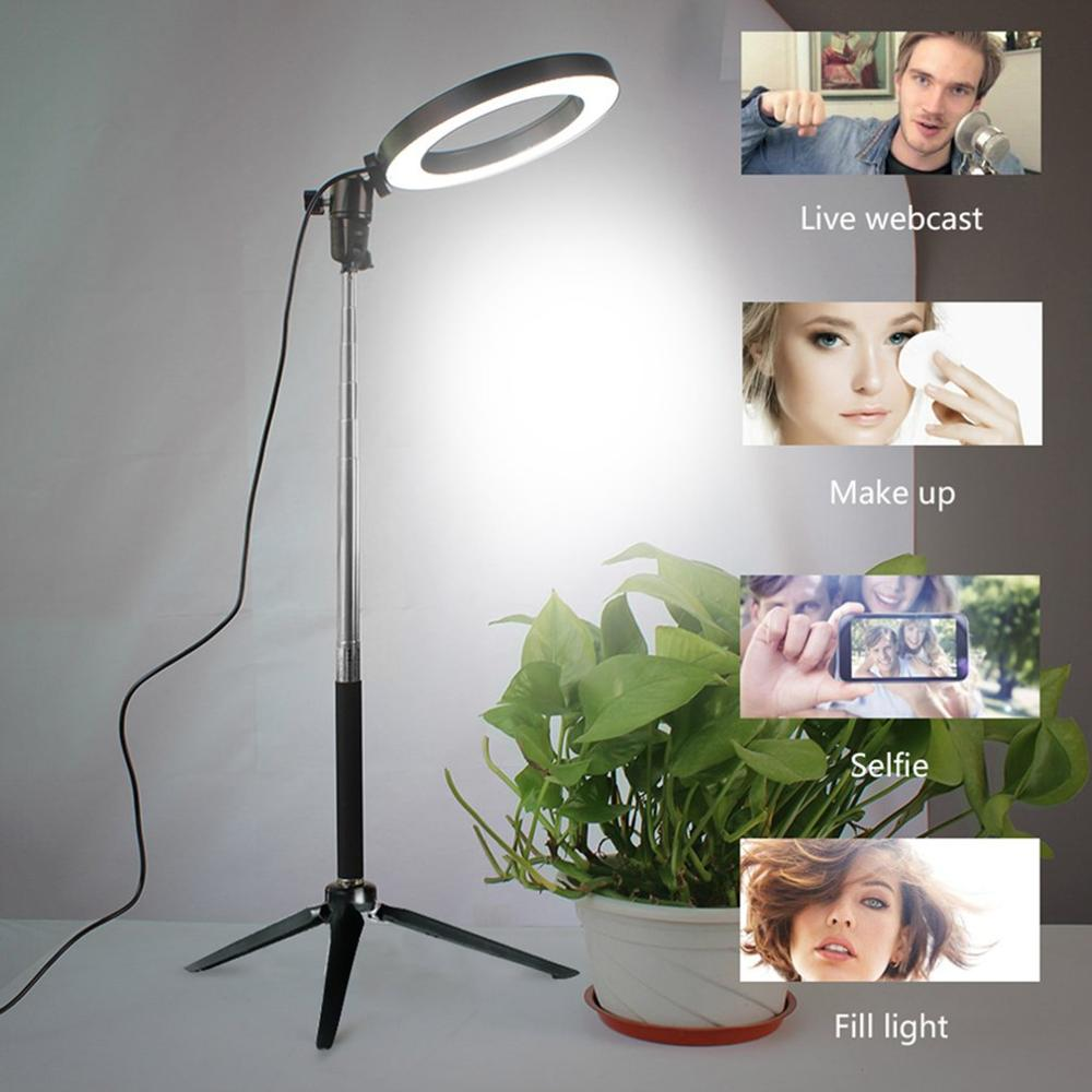 Photography Dimmable LED Selfie Ring Light YouTube Video Live 3500-5500k Photo Studio Light with Phone Holder USB Plug Tripod Color : E