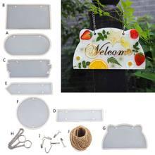 Molde de resina epóxi para porta diy, sinal de indicador de silicone transparente feito à mão, resina epóxi para cartão