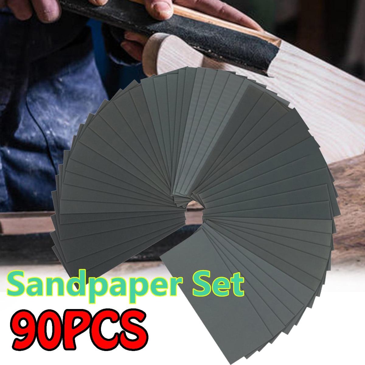 36/42/90Pcs Wet Dry Sandpaper Set 120-5000 Grit Polishing Abrasive Waterproof Paper Sheets For Automotive Sanding Wood Furniture
