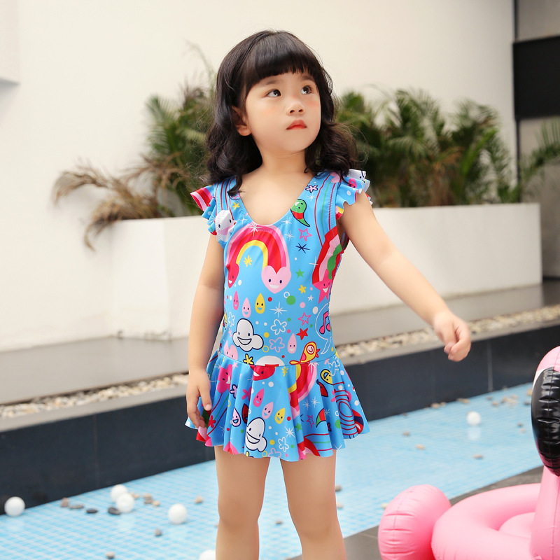 2019 New Style KID'S Swimwear Girls Cute Baby Princess Dress-Short Sleeve One-piece Swimwear Parent And Child Holiday Swimwear