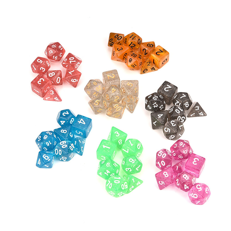 7Pcs Dice Set TRPG Game Polyhedron Dados De Rpg Multi-faceted Acrylic Dice Brand New Dnd Dice Sets Игральные кости 30A19