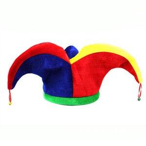 1 Uds. Disfraz de bufón multicolor para Halloween suministros de Carnaval timbre con gorra ztou