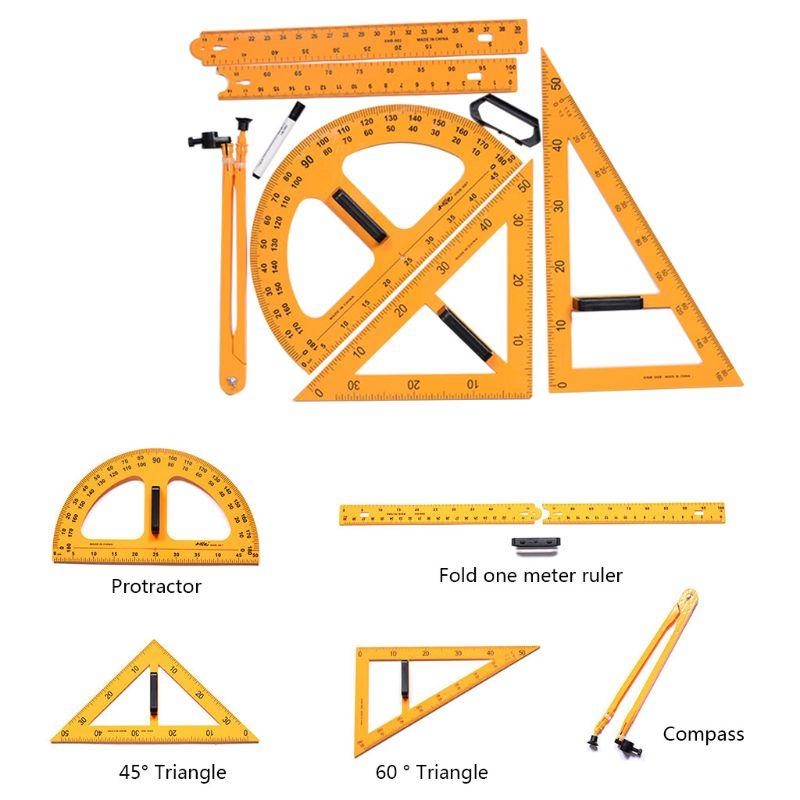 Multifunction Teaching Ruler Set Compasses Protractor  Measurement Ruler Math Geometry Tools