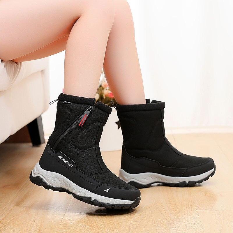 Botas femininas inverno antiderrapante impermeável botas de neve para mulher botas de inverno sapatos mulher grossa de pelúcia tornozelo botas para-40 graus