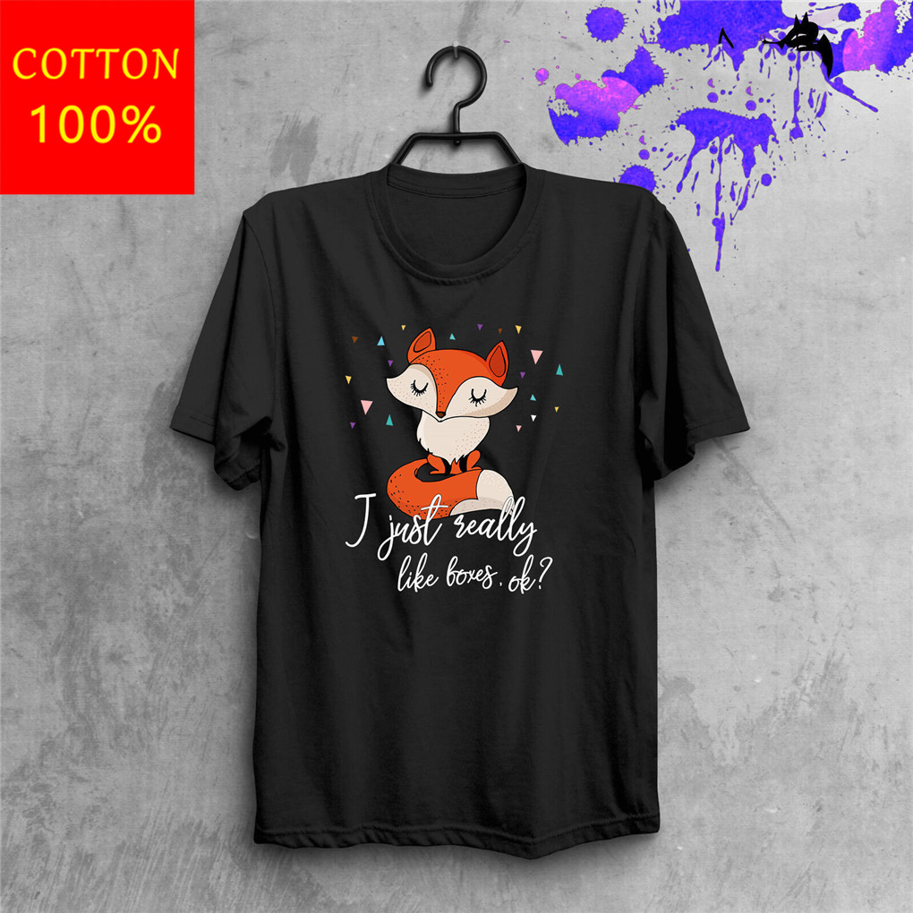Cute TShirt Fox Lover Short Sleeve Animals Hand Made Unique Print Clothes For Youth <font><b>MiddleAge</b></font> The Old Tee Shirt image
