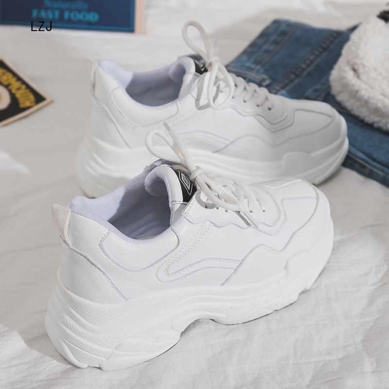 Boyutu 35-40 2019 yeni rahat kadın ayakkabı Lace Up platform ayakkabılar kadın kalın tabanlı vulkanize ayakkabı rahat ayakkabı