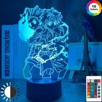Lámpara 3d Anime HUNTER x HUNTER Gon y Killua figura luz nocturna para decoración dormitorio infantil ventiladores de luz regalo niños Led luz de noche