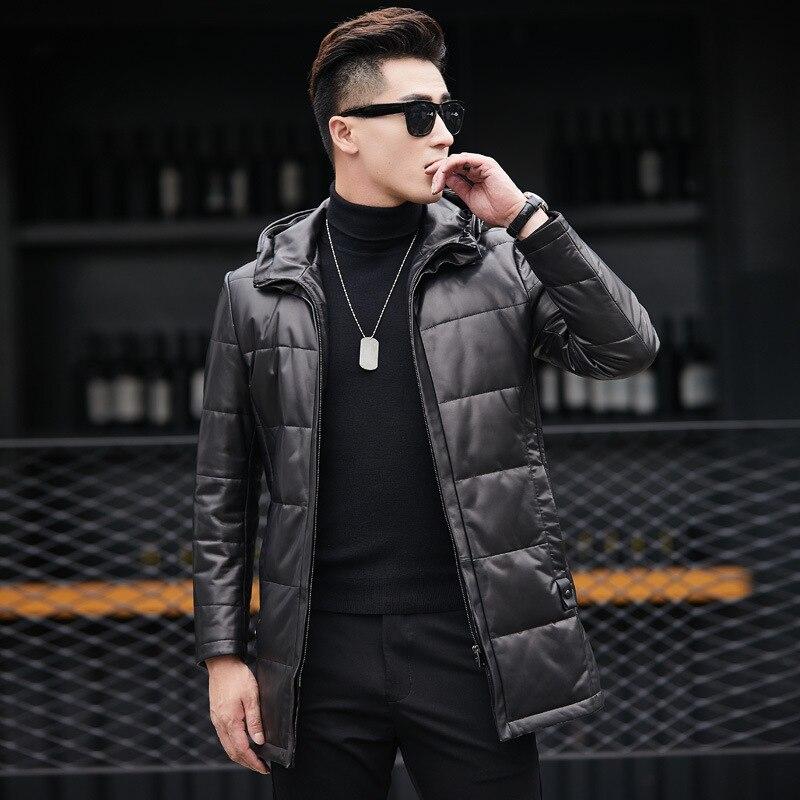 Genuine Leather Jacket Men Winter Duck Down Jacket Men 100% Sheepskin Hooded Coat Chaqueta Cuero 81X89808 YY272