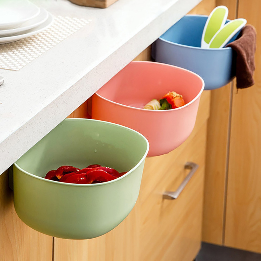 Reusable Plastic Hanging Trash Can and Wall Mounted Waste Bin for Kitchen Cabinet Door