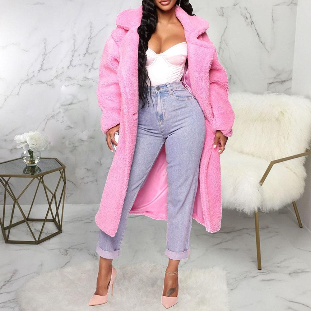 Pink Long Teddy Jacket Coat Women Winter 2019 Thick Warm Oversize Chunky Outerwear Overcoat Ladies Faux Lambswool Lamb Fur Coats