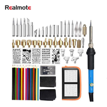Realmote Electric Pyrography Soldering Iron Suit 71 Pieces Carving Soldering Iron Hot Printed Pattern Pyrography