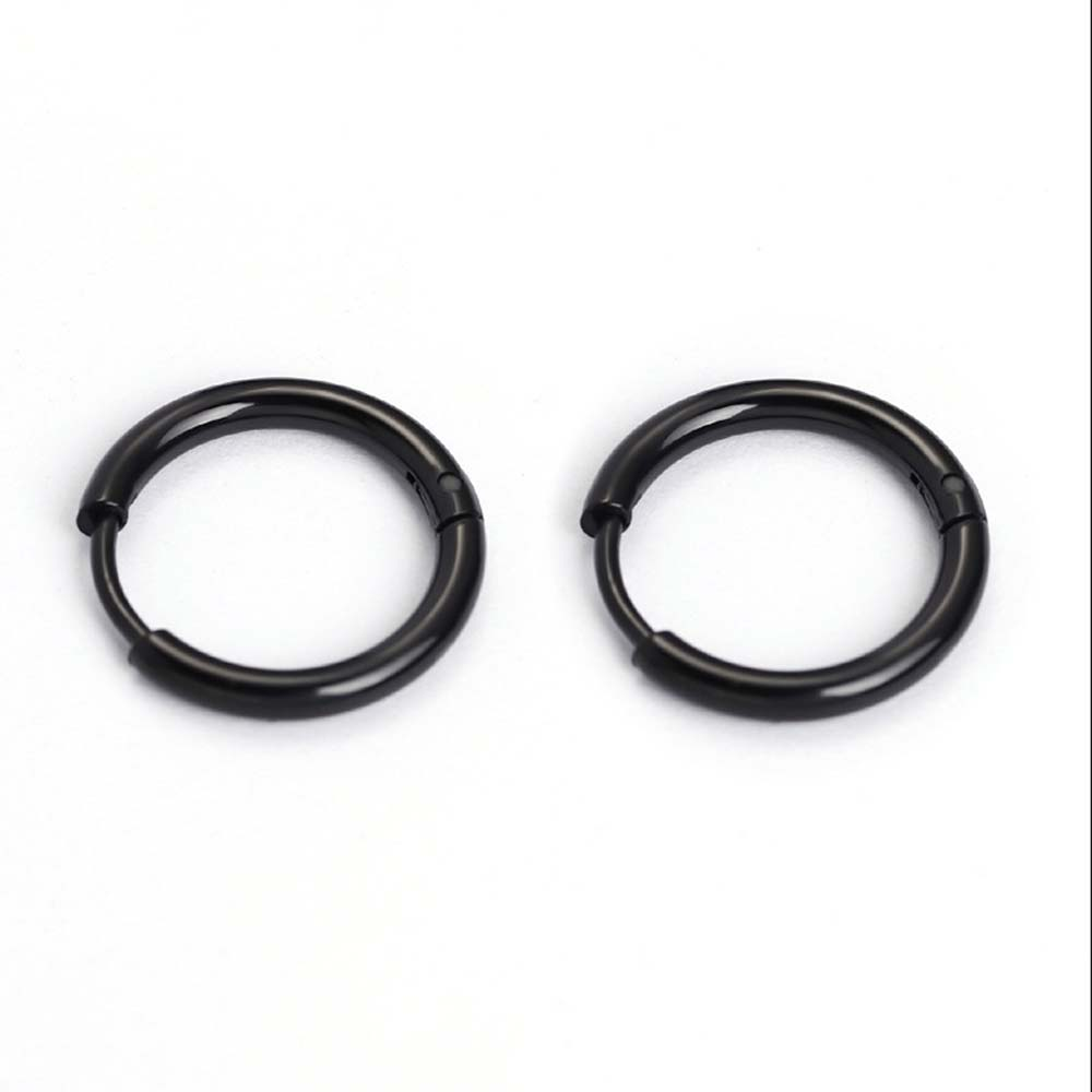 Silver/Black/Gold 1pcs Titanium Steel Ear Hoop Men's Women's Earrings Buckle Anti-allergy Punk Style Hoop Earrings For Hipster image