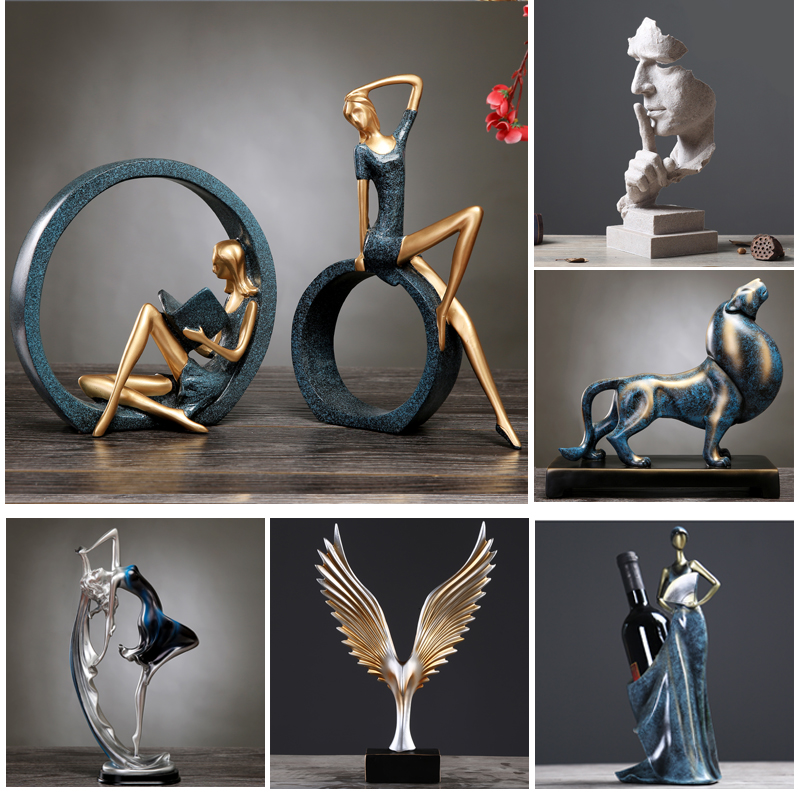 Nordic Home Decoration Ornaments Table Family Figurines Desk Living Room Wine Rack Crafts Creative Decorations Christmas Gift
