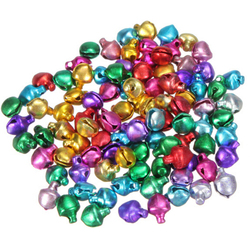 100 PCS DIY Loose Beads Small Jingle Bells Gift Handmade Crafts Xmas Ornament Gift Mix Color 6 MM Christmas Decorations For Home