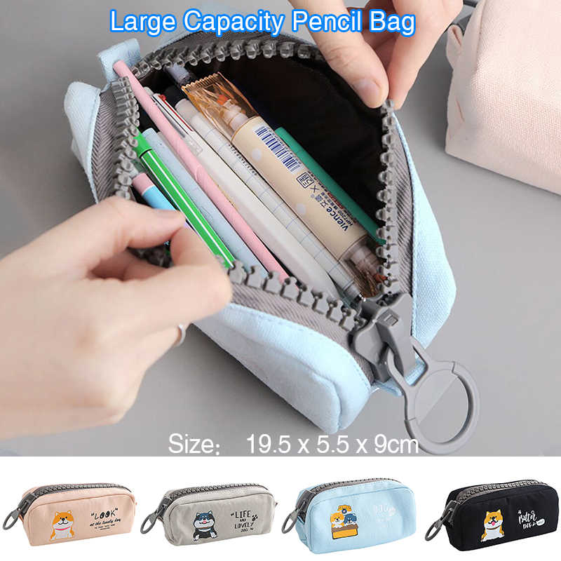 Large Capacity Pencil Storage Zip Bag Pen Case Holder School Stationery Cosmetic Storage Pouch Organizer Girls Women Gift
