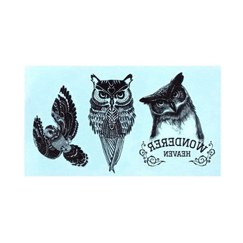 Waterproof Temporary 3d Tattoo Sticker Body Art Fake Owl Tattoo Cool Stuff Funny Things Sexy Products For Girl Women Men image