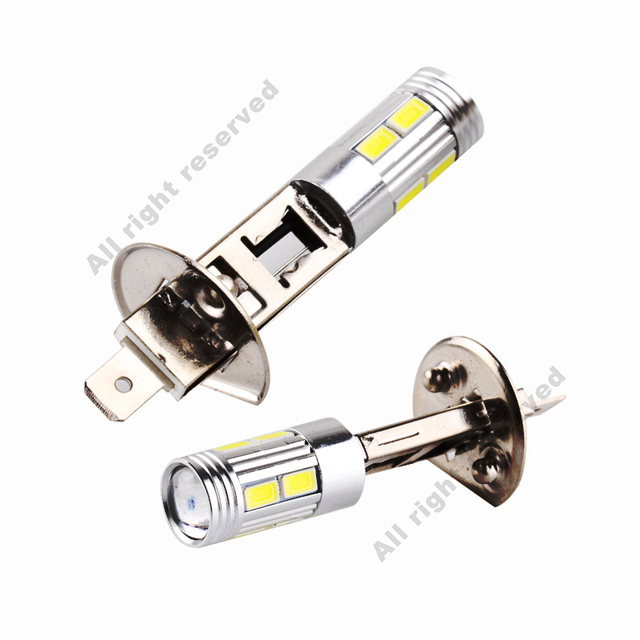 H1 LED Bulbs Super Bright High Power H3 10-SMD 5630 Auto LED Car Fog Signal Turn Light Driving Lamp White Amber Red D45 3