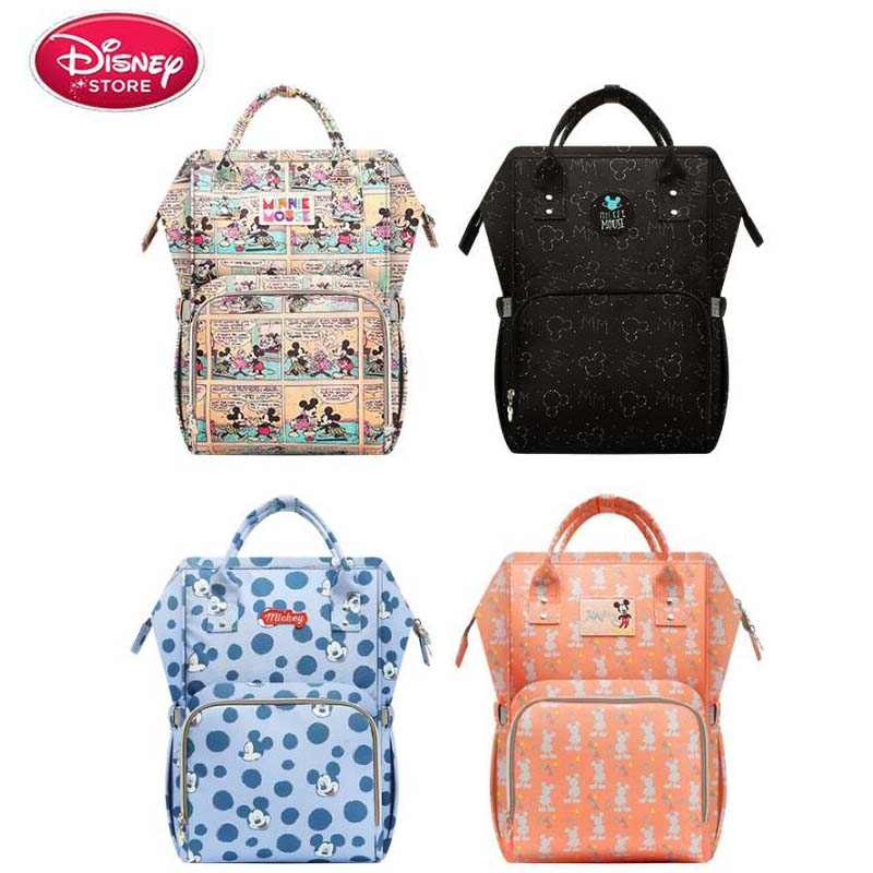 Disney Mummy Bag Multi-Function Pregnant Women To Wait For Milk Large Capacity Backpack USB Bottle Heating Insulation Bag Stroll