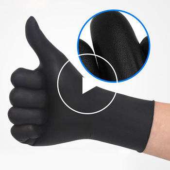 Safety gloves household machinery nitrile black 100pcs food grade waterproof hypoallergenic disposable work - discount item  20% OFF Workplace Safety Supplies