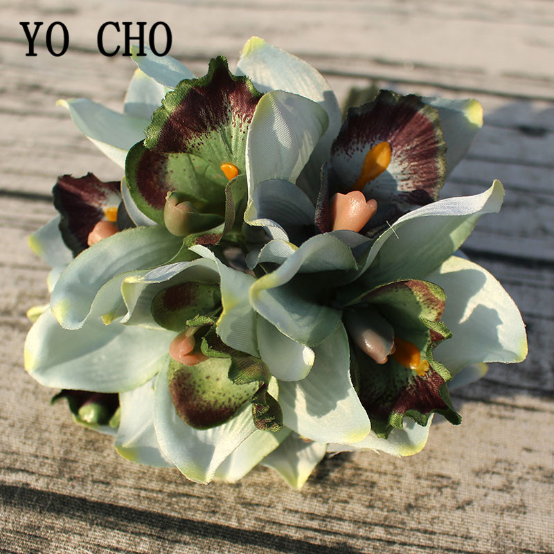 Осеннее украшение, винтажные шелковые орхидеи, искусственные цветы, букет, свадебный Декор для дома, декор для балкона, сада, улицы, искусств...