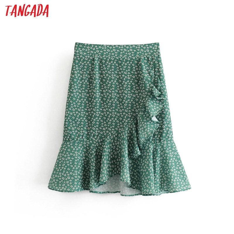 Tangada Women Ruffles Floral Chiffon Skirts Faldas Mujer Back Zipper Summer Female Elgant Mini Skirt Ladies 1T19