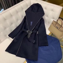 Jacket Women Coat Runway Long-Sleeve Autumn Blue Winter Fashion with Belt High-Quality
