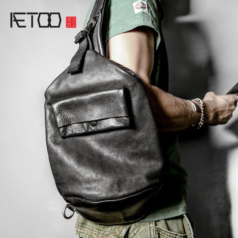 AETOO Waist Bag, Leather Men's Chest Bag, Trend-planting Cowhide Chest Bag, Head Leather Men's Slanted Bag