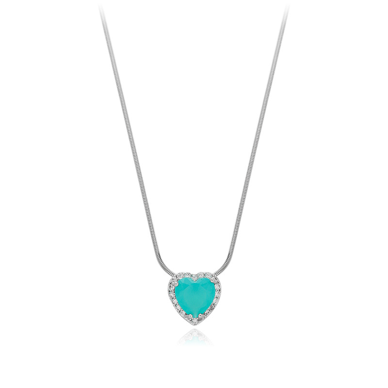 2020 Korean New Exquisite Blue Crystal Necklace Fashion Temperament Love Pendant Necklace Female Jewelry