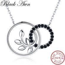 [Черный AWN] милое 925 пробы Серебряное ожерелье для женщин Оливковая ветвь Подвески ожерелье s серебро 925 ювелирные изделия K005