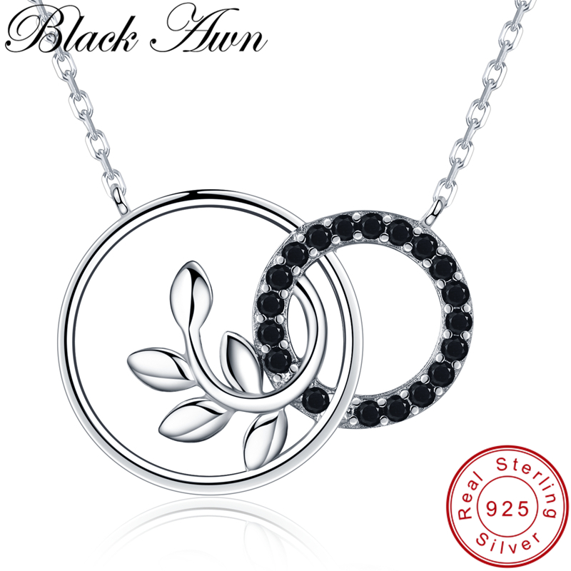 [BLACK AWN] Cute 925 Sterling Silver Necklace For Women Olive Branch Pendants Necklaces Silver 925 Jewelry K005
