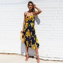 LadiesFashion and Leisure Retro Sun Dress Boho Sexy Dress Midi Button Backless Polka Dot Striped Floral Beach Dress(China)
