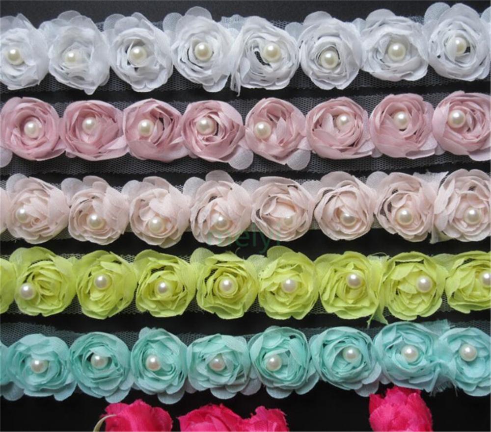 1 ярд Шифоновый Цветок розы жемчужная вышитая ткань кружевная отделка Лента ручной работы DIY Швейные принадлежности рукоделие для украшени...