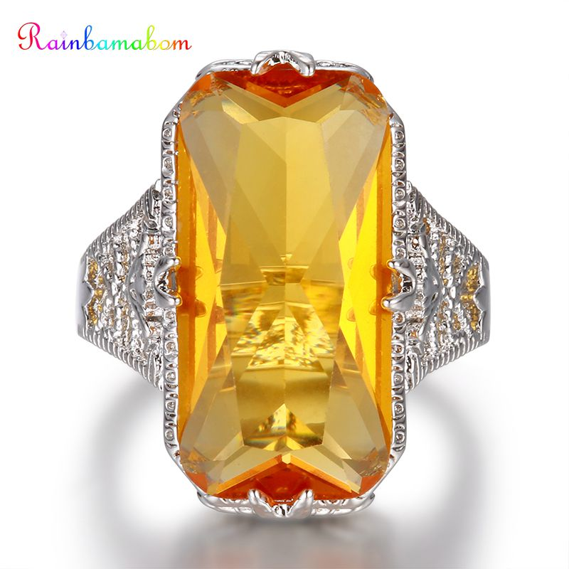 Rainbamabom 925 Solid Sterling Silver Huge Citrine Gemstone Wedding Engagement Hollow Ring Fine Jewelry Wholesale Drop Shipping
