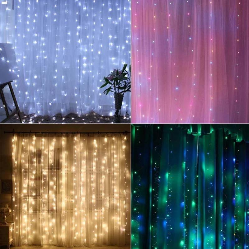 3 3m led curtain fairy lights string christmas fairy light backdrop wall lamp indoor outdoor wedding christmas party light decor