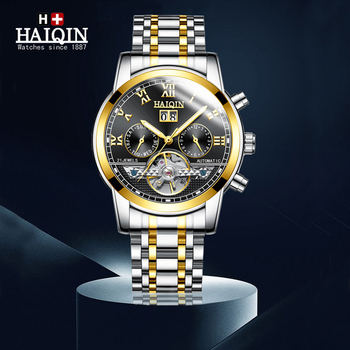 HAIQIN Automatic Watch Men Watch Fashion Luxury Brand Military Waterproof Business Mechanical Watches Tourbillon Clock relogio boyzhe man s automatic mechanical watch fashion brand business watch military sport waterproof clock luminous wristwatch for man