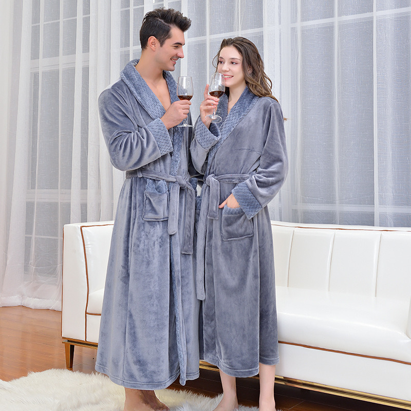 Winter Bath Robe Women Mens Sleep Lounge Bathrobe Flannel Solid Turn-d