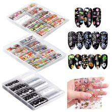 10 Rolls Halloween Xmas Nail Foil Starry Sky Art Transfer Polish Stickers Glitter Nails Christmas