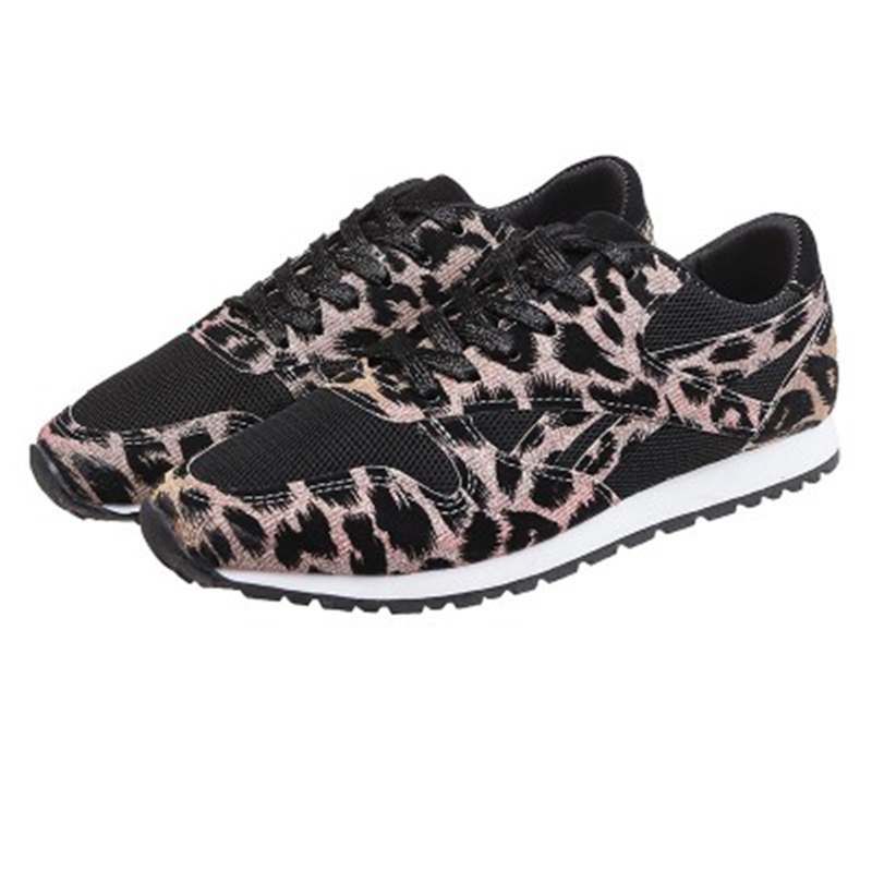 Siddons New Sexy Leopard Prints Women Sneakers Casual Shoes Round Toe Shallow Laides Flats Shoes Lace Up Women Running Sneakers
