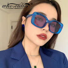 WHO CUTIE 2020 Vintage Blue Square Sunglasses Oversized Wome