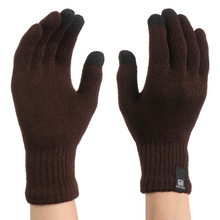 1Pair Winter Knitted Wool Touch Screen Gloves Men Warm Short Plush Lining Full F