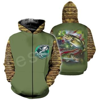 Tessffel New Fashion Animal Fishing Art Harajuku casual Tracksuit Funny 3D Print Zipper/Hoodie/Sweatshirt/Jacket/Mens Womens s-5 2