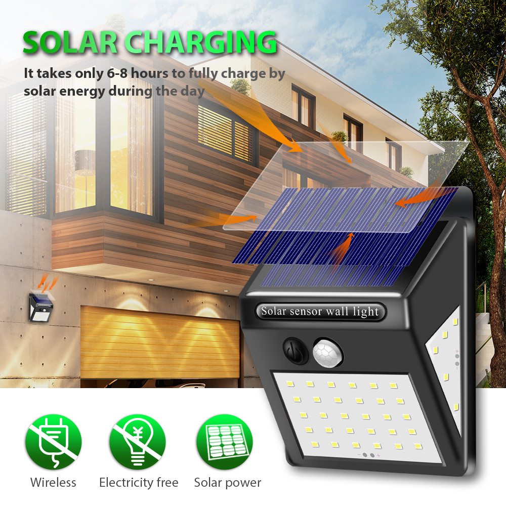 1-4pcs 40 LED Solar Lamp Outdoor Waterproof Solar Power Motion Sensor 3 Sides Wall Light For Street Garden Yard Security Lamps